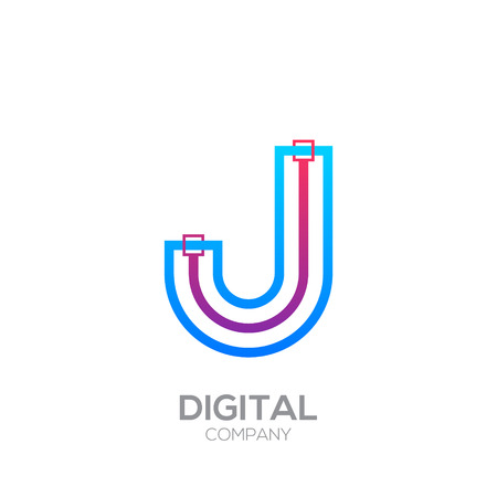 Letter J with Dots and Lines icon type,Square shape, Technology and digital, connection icon.