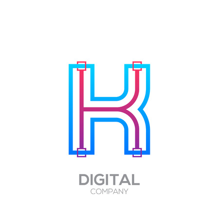 Letter K with Dots and Lines icon type,Square shape, Technology and digital, connection icon. Иллюстрация