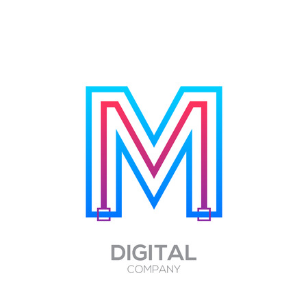 Letter M with Dots and Lines icon type,Square shape, Technology and digital, connection icon. Иллюстрация