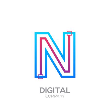 Letter N with Dots and Lines icon type,Square shape, Technology and digital, connection icon. Иллюстрация