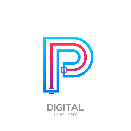 Letter P with Dots and Lines icon type,Square shape, Technology and digital, connection icon. Иллюстрация