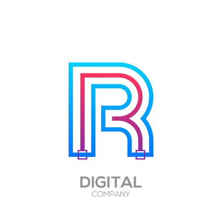Letter R with Dots and Lines icon type,Square shape, Technology and digital, connection icon.