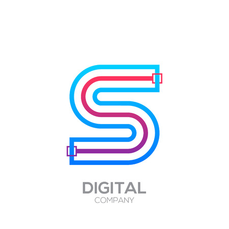 Letter S with Dots and Lines icon type,Square shape, Technology and digital, connection icon. Иллюстрация