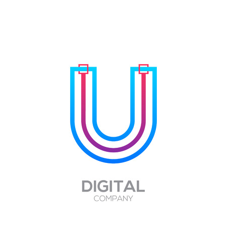 Letter U with Dots and Lines icon type,Square shape, Technology and digital, connection icon.