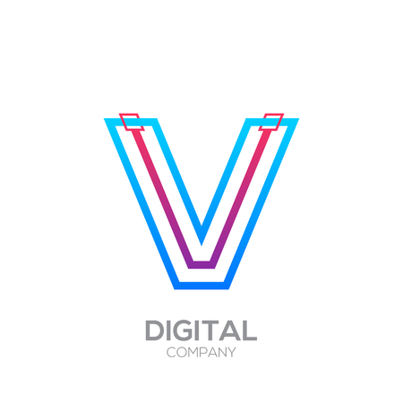 Letter V with Dots and Lines icon type,Square shape, Technology and digital, connection icon. Иллюстрация