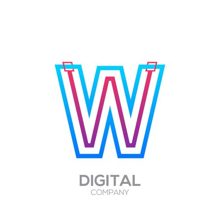 Letter W with Dots and Lines icon type,Square shape, Technology and digital, connection icon. Иллюстрация