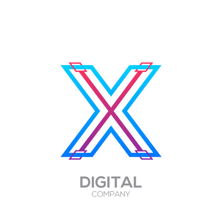 Letter X with Dots and Lines icon type,Square shape, Technology and digital, connection icon.