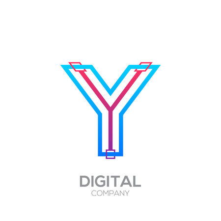 Letter Y with Dots and Lines icon type,Square shape, Technology and digital, connection icon.