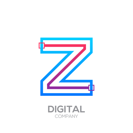 Letter Z with Dots and Lines icon type,Square shape, Technology and digital, connection icon.