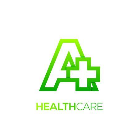 Letter A cross plus logo green color, medical healthcare hospital logotype