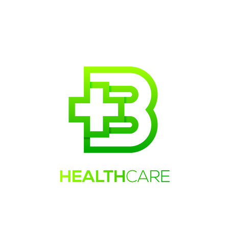 Letter B cross plus Green color,Medical healthcare hospital Logotype