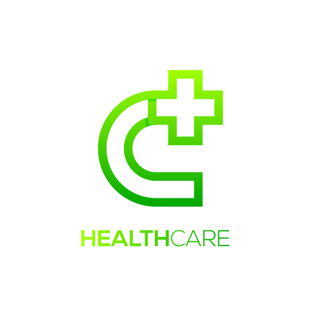Letter C cross plus logo green color, medical healthcare hospital logotype