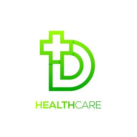 Letter D cross plus Green color,Medical healthcare hospital Logotype