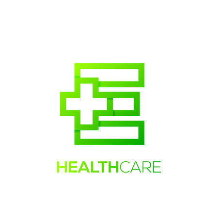 Letter E cross plus Green color,Medical healthcare hospital Logotype Illusztráció