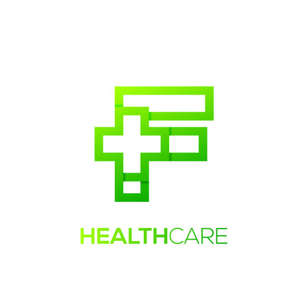 Letter F cross plus Green color,Medical healthcare hospital Logotype