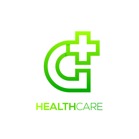 Letter G cross plus Green color,Medical healthcare hospital Logotype
