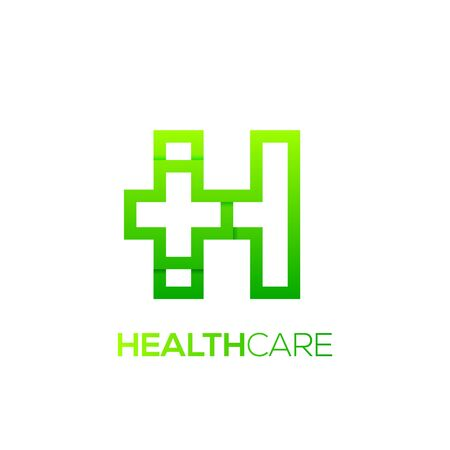 Letter H cross plus logo Green color,Medical healthcare hospital Logotype