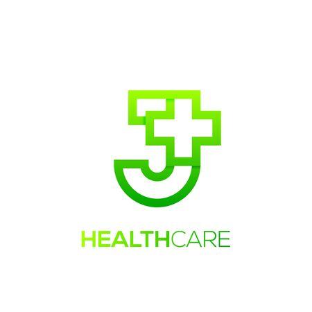 Letter J cross plus logo Green color,Medical healthcare hospital Logotype