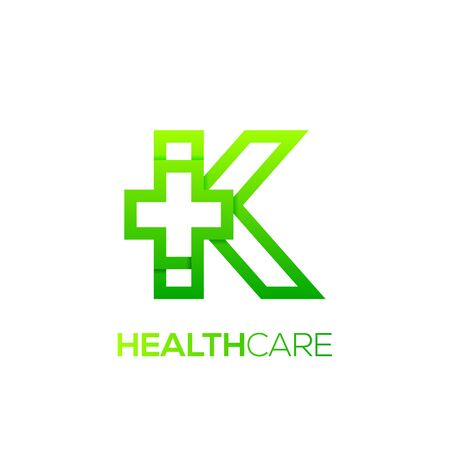 Letter K cross plus logo Green color,Medical healthcare hospital Logotype