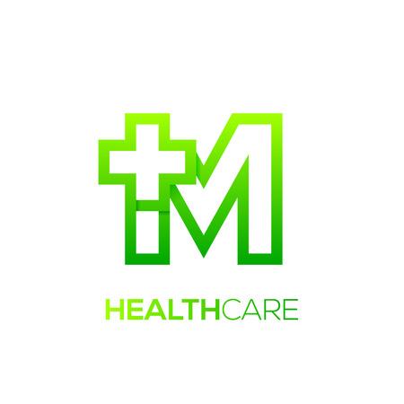 Letter M cross plus logo Green color,Medical healthcare hospital Logotype