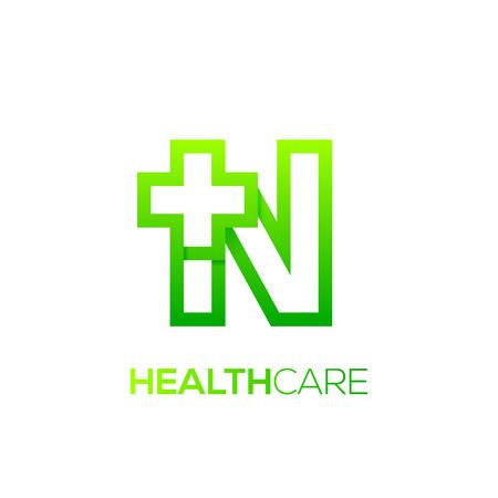 Letter N cross plus logo Green color,Medical healthcare hospital Logotype