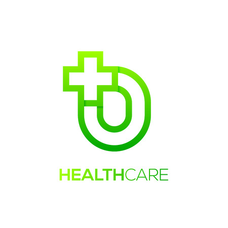 Letter O cross plus logo Green color,Medical healthcare hospital Logotype