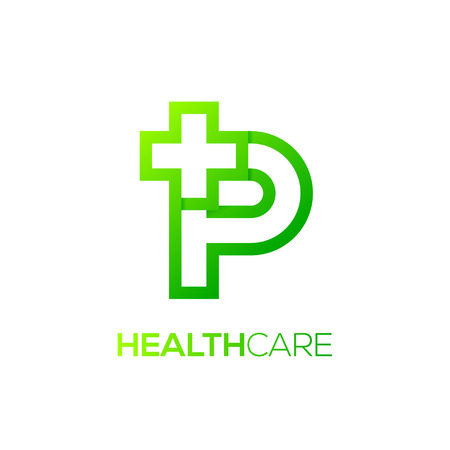Letter P cross plus logo Green color,Medical healthcare hospital Logotype