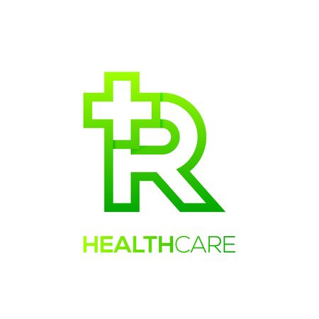 Letter R cross plus logo Green color,Medical healthcare hospital Logotype
