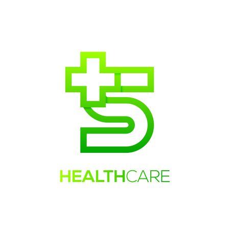 Letter S cross plus logo Green color,Medical healthcare hospital Logotype