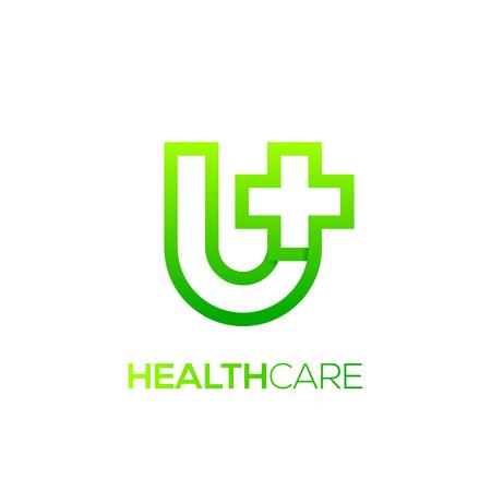 Letter U cross plus logo Green color,Medical healthcare hospital Logotype