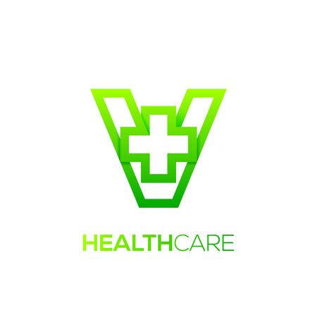 Letter V cross plus logo Green color,Medical healthcare hospital Logotype