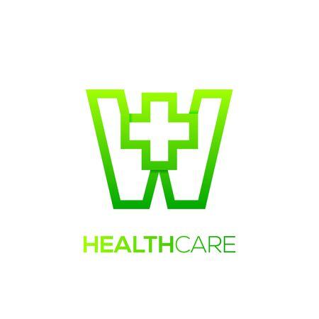 Letter W cross plus logo Green color,Medical healthcare hospital Logotype