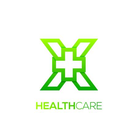 Letter X cross plus logo Green color,Medical healthcare hospital Logotype