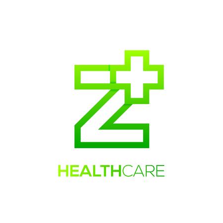 Letter Z cross plus logo Green color,Medical healthcare hospital Logotype