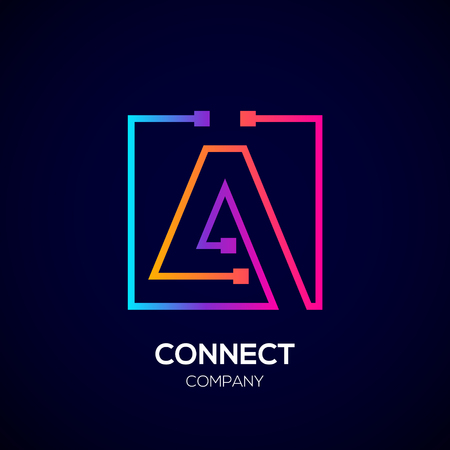 Letter A logo, Square shape, Colorful, Technology and digital abstract dot connection Фото со стока - 93768770