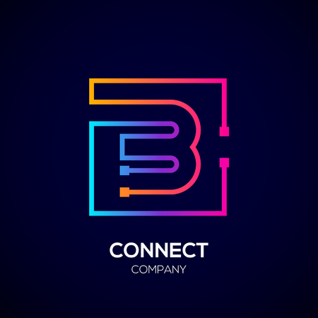Letter B logo, Square shape, Colorful, Technology and digital abstract dot connection Illusztráció