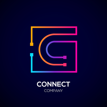 Letter C logo, Square shape, Colorful, Technology and digital abstract dot connection