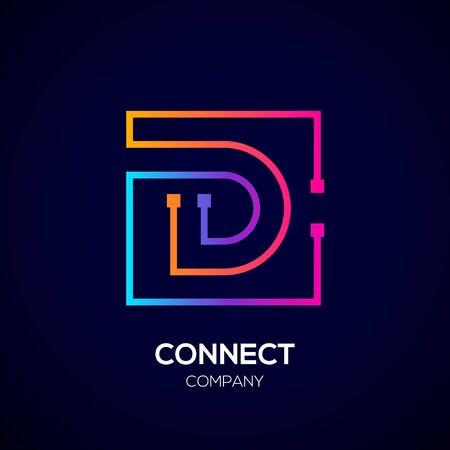 Letter D logo, Square shape, Colorful, Technology and digital abstract dot connection Illusztráció
