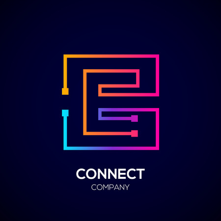 Letter E logo, Square shape, Colorful, Technology and digital abstract dot connection Фото со стока - 93768771