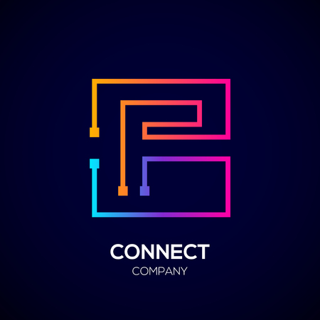 Letter F logo, Square shape, Colorful, Technology and digital abstract dot connection Фото со стока - 93768768
