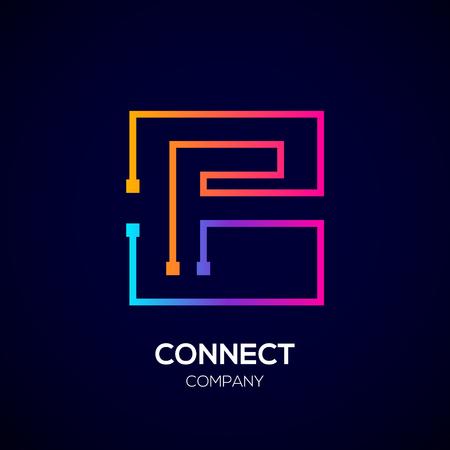 Letter F logo, Square shape, Colorful, Technology and digital abstract dot connection Illusztráció