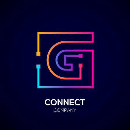 Letter G logo, Square shape, Colorful, Technology and digital abstract dot connection