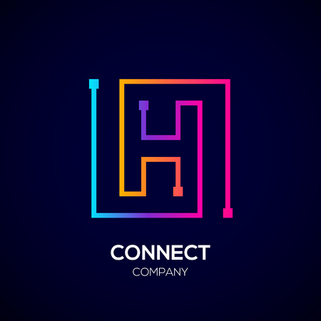 Letter H logo, Square shape, Colorful, Technology and digital abstract dot connection Фото со стока - 93768777