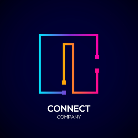 Letter i logo, Square shape, Colorful, Technology and digital abstract dot connection Фото со стока - 93768775