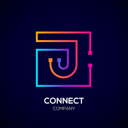 Letter J logo, Square shape, Colorful, Technology and digital abstract dot connection