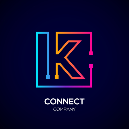 Letter K logo, Square shape, Colorful, Technology and digital abstract dot connection Illusztráció