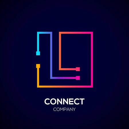 Letter L logo, Square shape, Colorful, Technology and digital abstract dot connection Фото со стока - 93768776