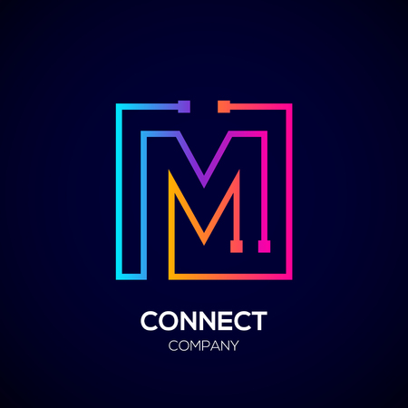 Letter M logo, Square shape, Colorful, Technology and digital abstract dot connection Illustration