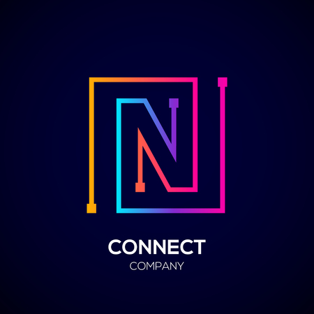 Letter N logo, Square shape, Colorful, Technology and digital abstract dot connection Фото со стока - 93768780