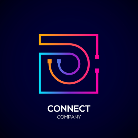 Letter O logo, Square shape, Colorful, Technology and digital abstract dot connection